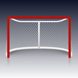 Red hockey goal, net. Royalty Free Stock Photos