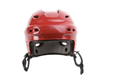 Red hockey helmet. Red helmet for hockey, is designed to protect the head, is used in competitions, you can consolidate metallicheskayu mask, the mask protects Stock Photos
