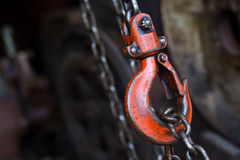 Red hoist chain Royalty Free Stock Photos