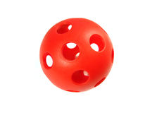 Red holed ball Stock Image