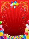 Red holiday background with balloons. Red holiday background with colorful balloons Royalty Free Stock Photography
