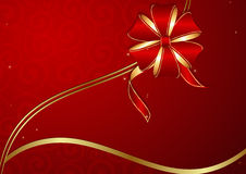 Red holiday background with golden ribbon Stock Image