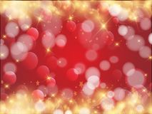 Red background with sparkles. Red holiday background with shiny gold circles and stars, solemnly, new year and Christmas Royalty Free Stock Photos