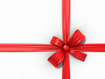 Red holiday bow on white Stock Image