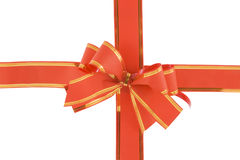Red holiday bow on white background Royalty Free Stock Images