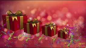Red holiday boxes with gold ribbons royalty free illustration