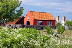 Red holiday cottage on Bornholm, Denmark Royalty Free Stock Photography