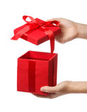 Red Holiday Gift Box Stock Photo