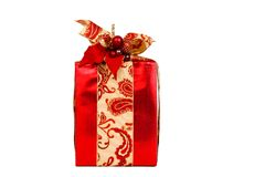 Red Holiday gift on white with clipping path Royalty Free Stock Image