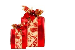 Red Holiday gift on white with clipping path Royalty Free Stock Photography