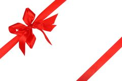 Red holiday ribbon and bow Royalty Free Stock Image
