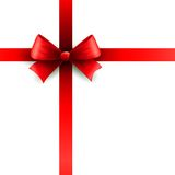 Red holiday ribbon with bow Royalty Free Stock Photos