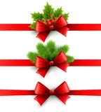 Red Holiday Ribbon With Bow. Holly And Pine Stock Images
