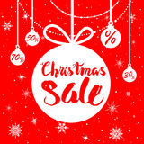 Red holiday sale poster. Big Christmas sale. Seasonal sale background for banners, advertising, leaflet, cards, invitation and so on Royalty Free Stock Photos