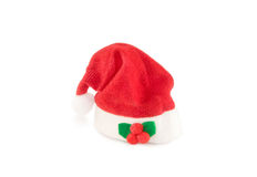 Red holiday Santa hat isolated over white. Royalty Free Stock Photography