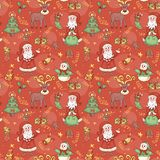 Red holiday seamless pattern. Royalty Free Stock Photo
