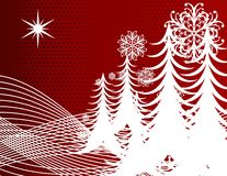 Red Holiday Trees Snowflakes Royalty Free Stock Images