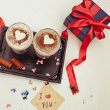 Red Holidays gift and dessert Royalty Free Stock Image