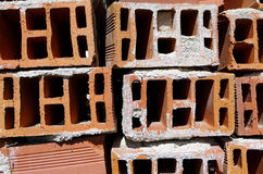 Red hollow ceramic bricks Royalty Free Stock Photography