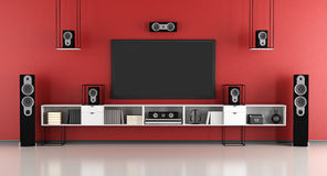 Red home cinema system Royalty Free Stock Photos