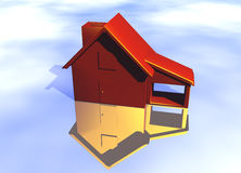 Red Home House on White. Red Home on Fire House Model with Reflection Concept For Risk or Property Insurance Protection on White Background Stock Image