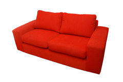 Red home sofa isolated over white Stock Photography