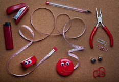 Red home tools studio quality. Light wooden background stock images