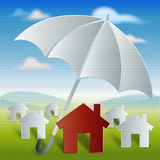 Red home with umbrella protection and security Royalty Free Stock Images