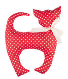 Red homemade cat toy with polka dots Royalty Free Stock Photography