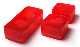 Red homemade soap bars. With hearts inside - Valentine's day gift royalty free stock photos