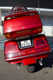Red Honda Goldwing. Back end of a old Honda Goldwing motorbike royalty free stock photo