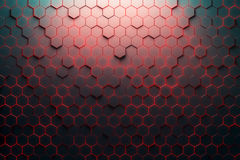 Red honeycomb pattern. 3D Rendering Royalty Free Stock Image
