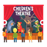 Red Hood Fairy-tale Show Scene With Wolf And Hunter Performed By Kids In Amateur Theatre With Other Pupils Watching vector illustration
