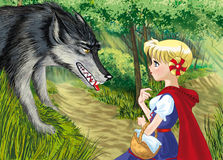Red hood with wolf. Fairytale little red ridding hood girl with wolf Stock Photo