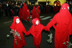 Red hooded. The red hoodeds in the famous holy easter procession of piano di sorrento in italy Stock Photography