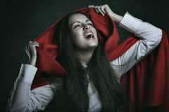 Red hooded vampire Stock Photo