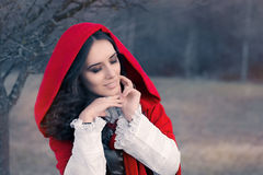 Red Hooded Woman Fairytale Portrait Stock Photography
