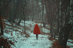 Red hooded woman walks alone Royalty Free Stock Photos