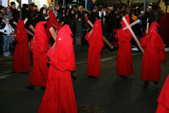 Red hoodeds. The red hoodeds at the holy easter procession of piano di sorrento in italy.29/3/13 stock photos