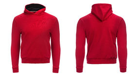 Red hoodie, sweatshirt mockup, isolated on white background. Red hoodie, sweatshirt mockup, on white background Royalty Free Stock Photos