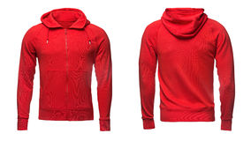 Red hoodie, sweatshirt mockup, isolated on white background Royalty Free Stock Photography