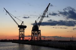 Red Hook Cranes Royalty Free Stock Images