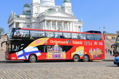 Red Hop On Hop Off Sightseeing Bus Near Helsinki Cathedral Royalty Free Stock Image