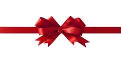 Red horizontal gift ribbon bow Royalty Free Stock Photos