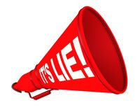 It is lie! Labeled megaphone. The red horn labeled with white text IT IS LIE! Isolated. 3D Illustration vector illustration