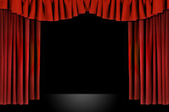 Red Horozontal Draped Theatre Stock Photo