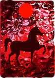 Red horse. Illustration to a fairy tale about a fiery horse Stock Photography