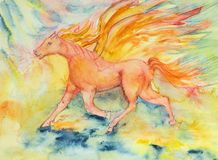 Red horse of the apocalypse in fire and flame. The dabbing technique near the edges gives a soft focus effect due to the altered surface roughness of the paper Stock Images