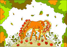 Red horse with apples walking on autumn meadow. Beautiful red horse with apples walking on autumn meadow. Illustration Royalty Free Stock Photography