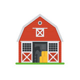 Red Horse Barns in Flat Design Stock Image